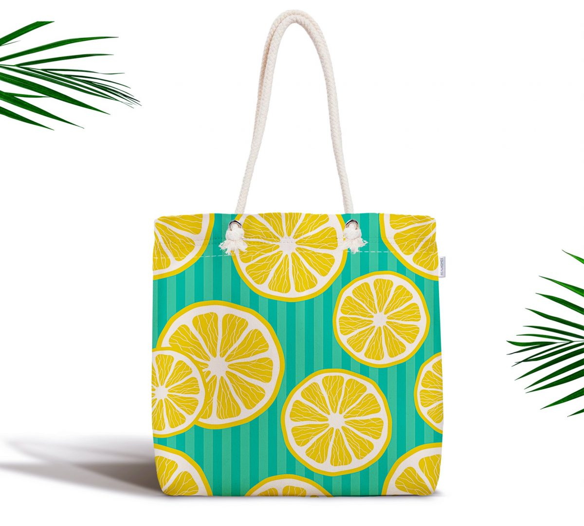 Yeşil Zeminde Limonlar Özel Tasarımlı Fermuarlı Bez Çanta Realhomes
