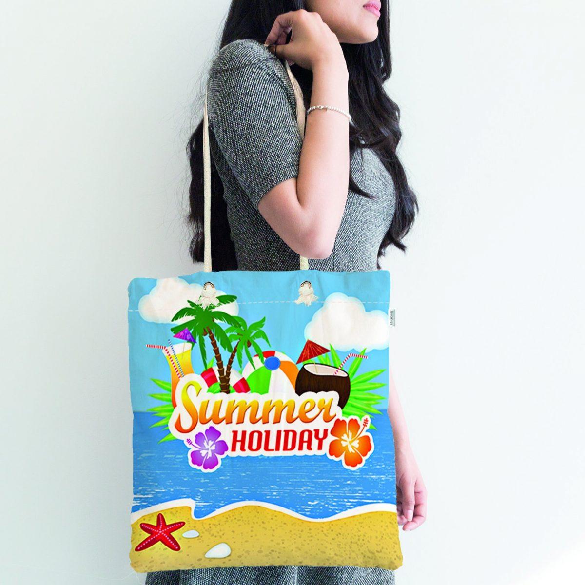 Summer Holiday Özel Tasarımlı Dijital Baskılı Fermuarlı Bez Çanta Realhomes