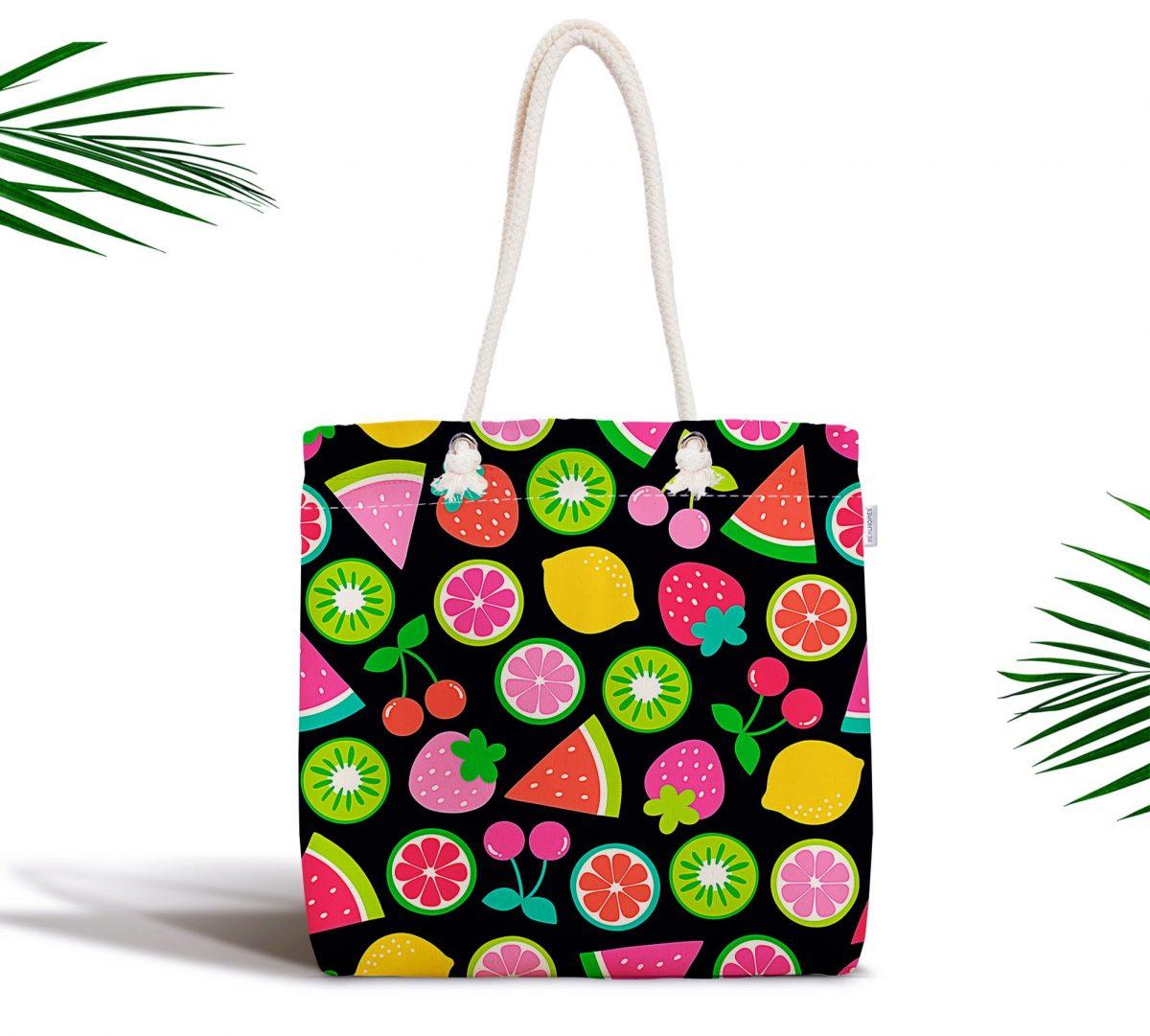 Siyah Zeminli Meyveler Tasarımlı Dijital Baskılı Fermuarlı Kumaş Çanta Realhomes