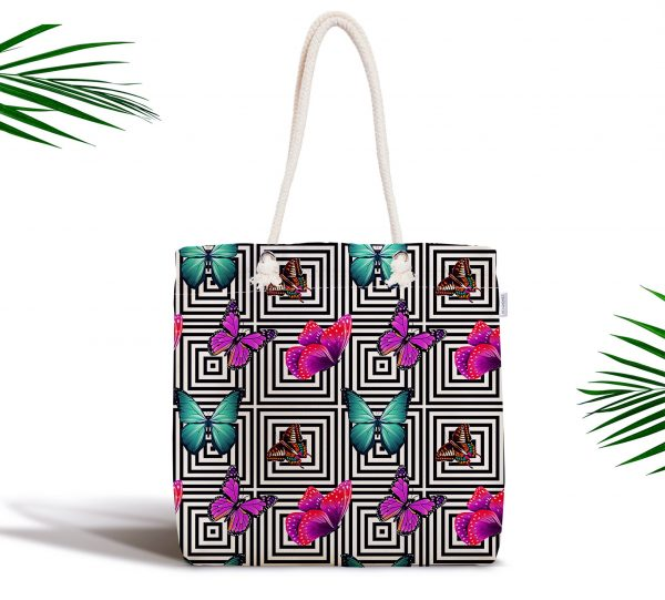 Fashion Çizim Desenli Dijital Baskılı Fermuarlı Kumaş Çanta Realhomes
