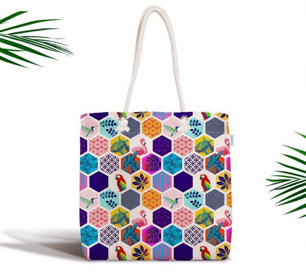 Renkli Mozaik Desenli Fermuarlı Dijital Baskılı Bez Çanta Realhomes