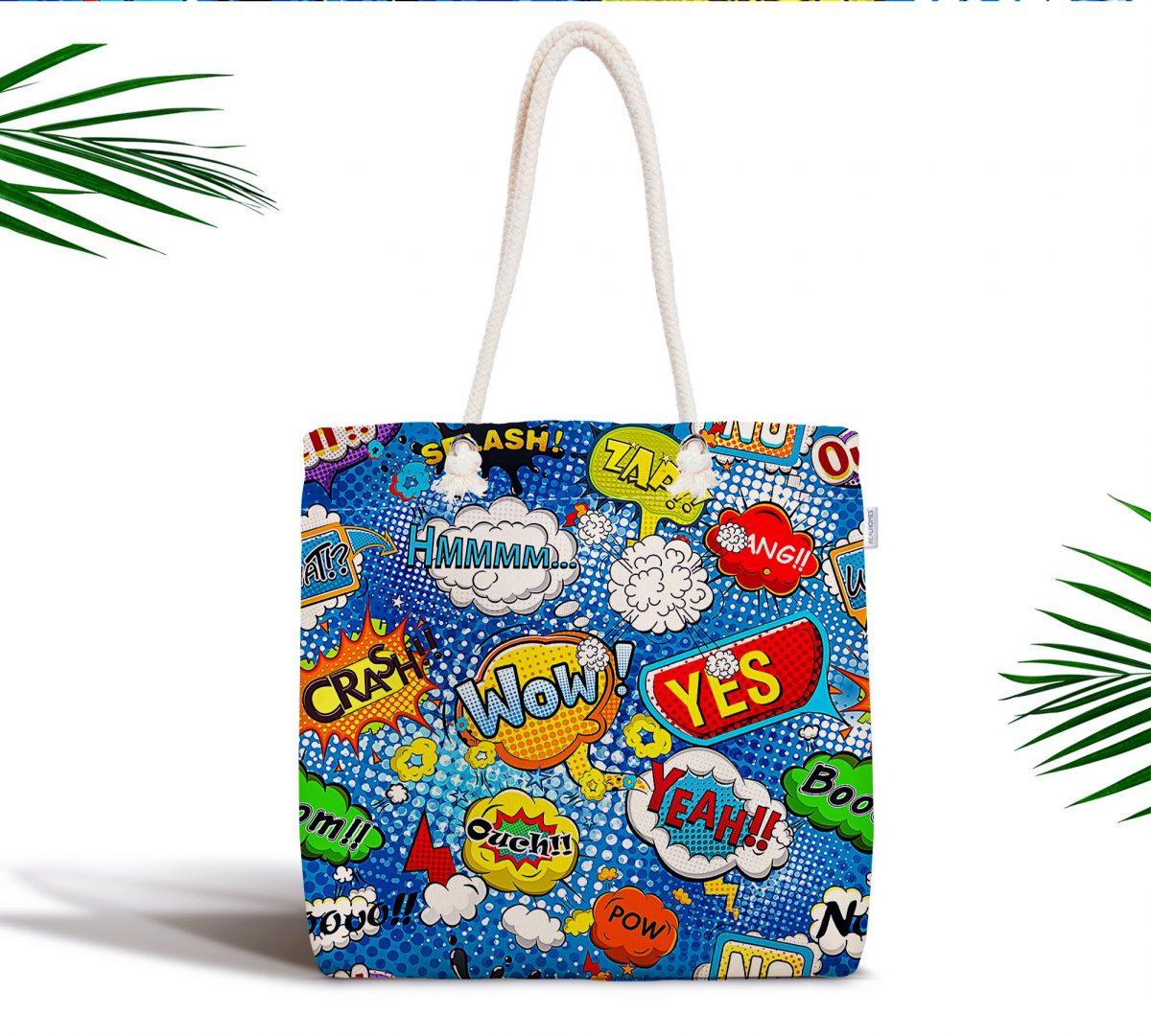 Mavi Zeminde Pop Art Tasarımlı Özel Tasarımlı Dijital Baskılı Fermuarlı Kumaş Çanta Realhomes