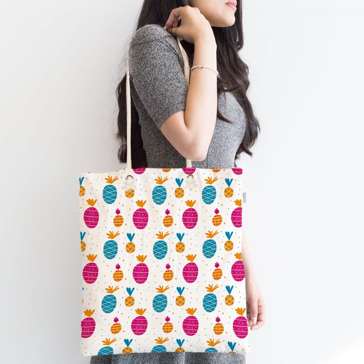 Renkli Ananas Motifli Dijital Baskılı Fermuarlı Kumaş Çanta Realhomes