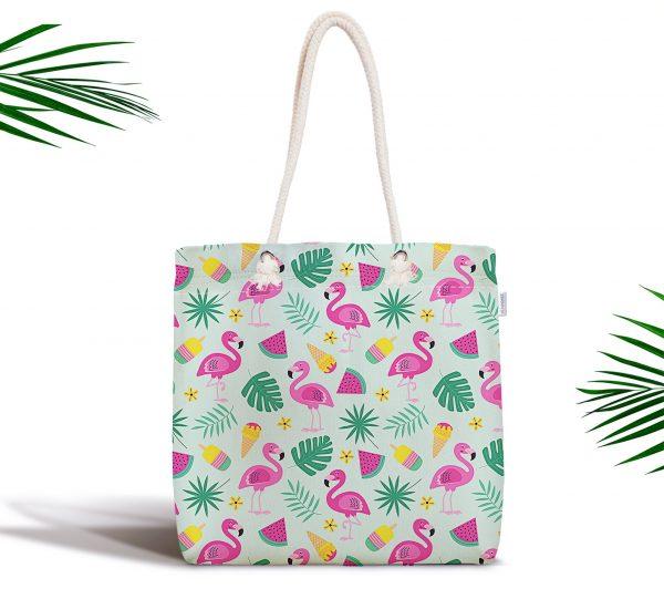 Summer Flamingo Motifli Özel Tasarım Dijital Baskılı Kumaş Çanta Realhomes