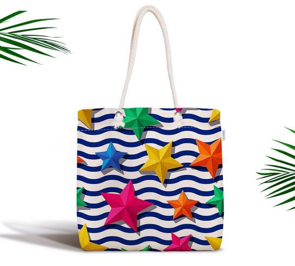 Zigzag 3D Yıldız Desenli Dijital Baskılı Fermuarlı Plaj Çantası Realhomes