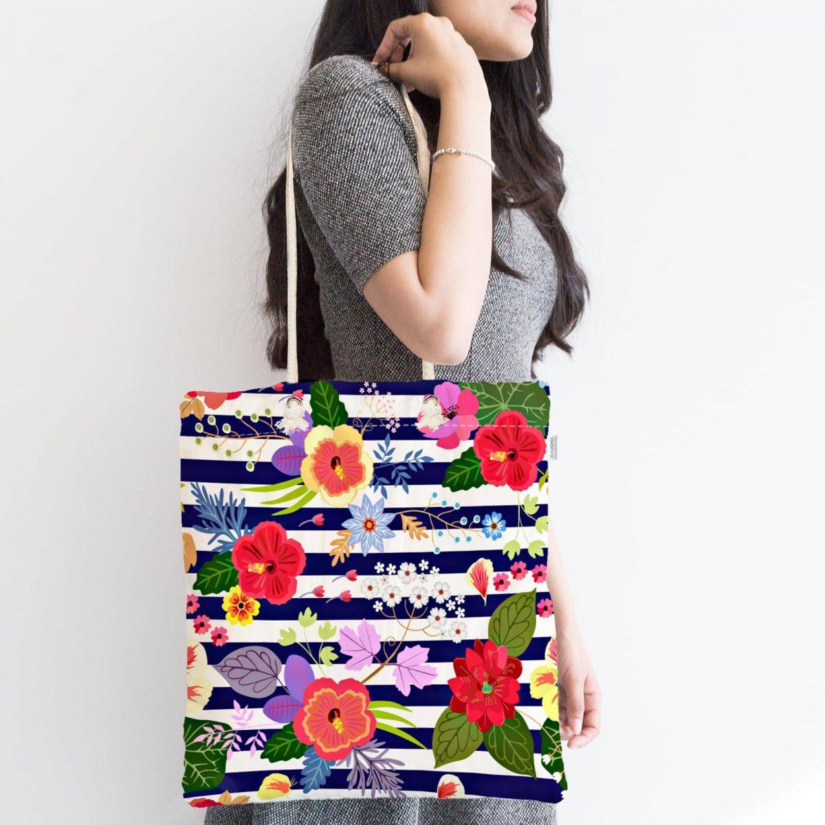 Mavi Çizgili Çiçek Desenli Özel Tasarım Dijital Baskılı Fermuarlı Kumaş Çanta Realhomes
