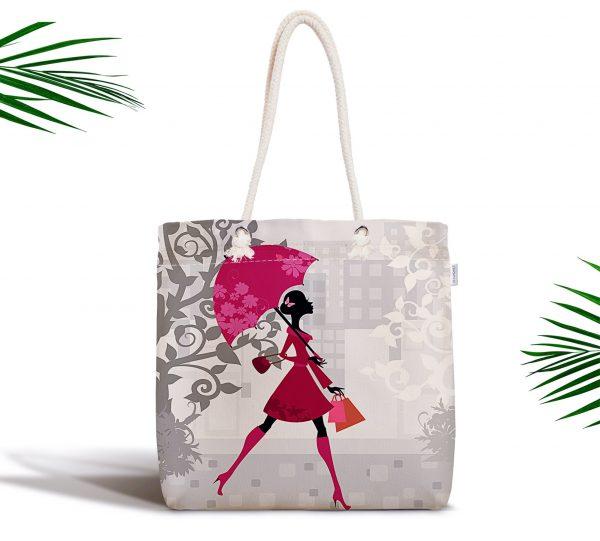 Fashion Girl Özel Tasarım Dijital Baskılı Fermuarlı Kumaş Çanta Realhomes