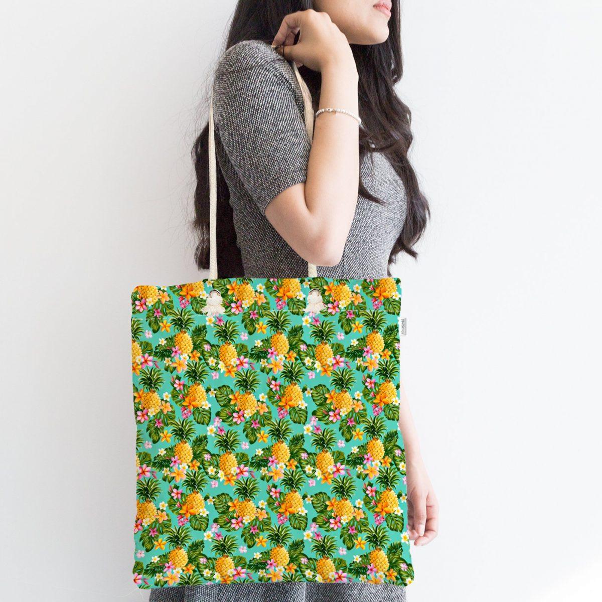 Turkuaz Zeminde Ananas Desenli Dijital Baskılı Fermuarlı Kumaş Çanta Realhomes
