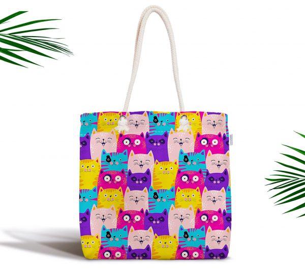 Renkli Kedicikler Çocuk Odası Özel Tasarım Fermuarlı Kumaş Çanta Realhomes