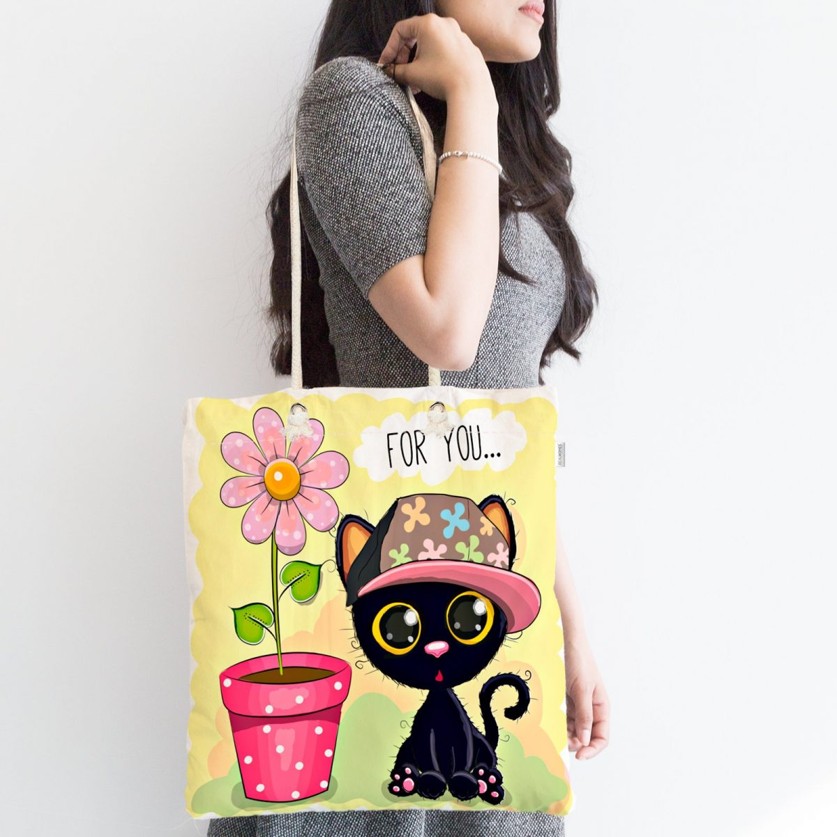 Sevimli Kediler Dijital Baskılı Fermuarlı Modern Kumaş Çanta Realhomes