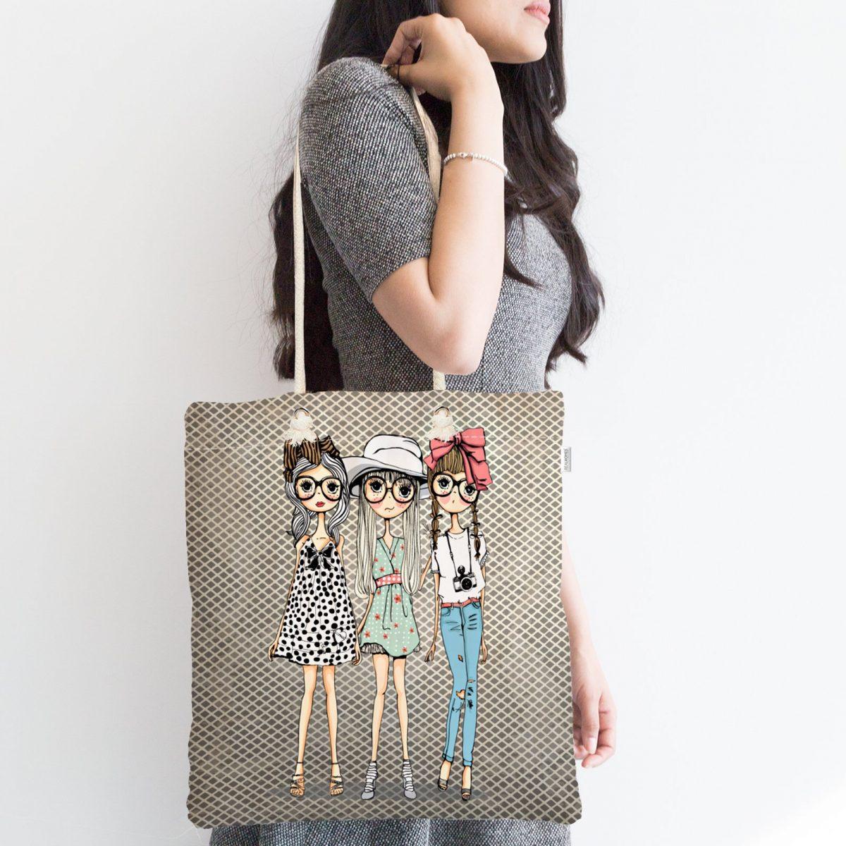 Fashion Girls Dijital Baskılı Modern Fermuarlı Kumaş Çanta Realhomes