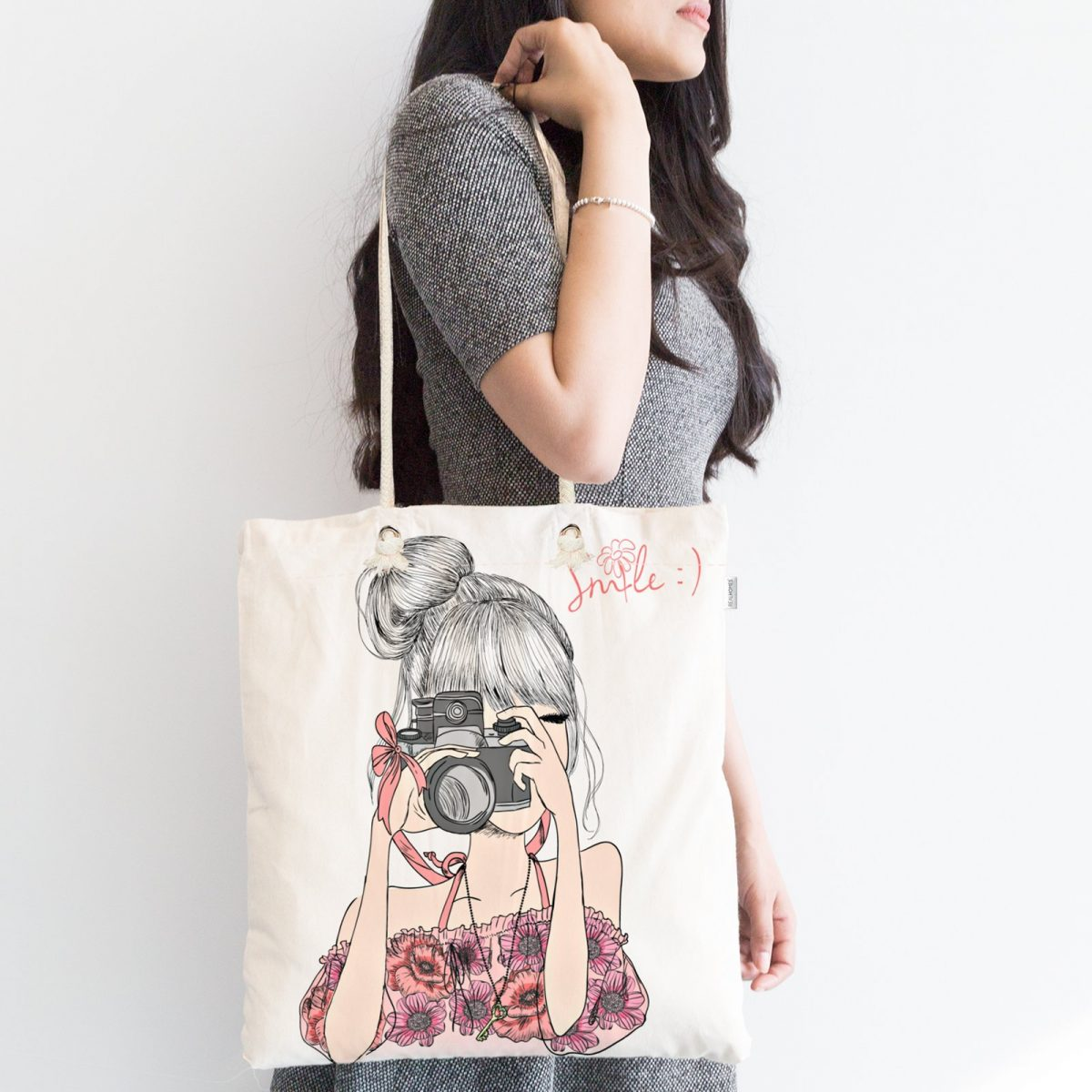 Fashion Girl Dijital Baskılı Modern Fermuarlı Kumaş Çanta Realhomes