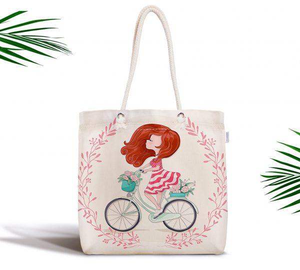 Modern Bisiklet Desenli Dijital Baskılı Fermuarlı Kumaş Çanta Realhomes