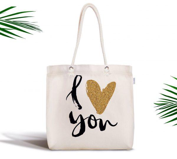 Love You Dijital Baskılı Modern Fermuarlı Kumaş Çanta Realhomes