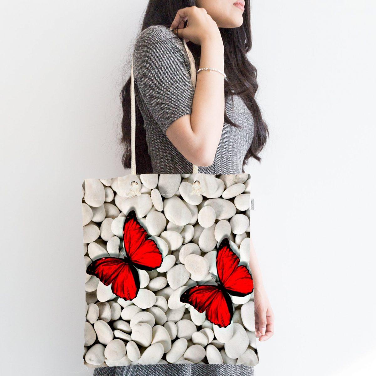 Modern Kelebek Dijital Baskılı Fermuarlı Modern Kumaş Çanta Realhomes