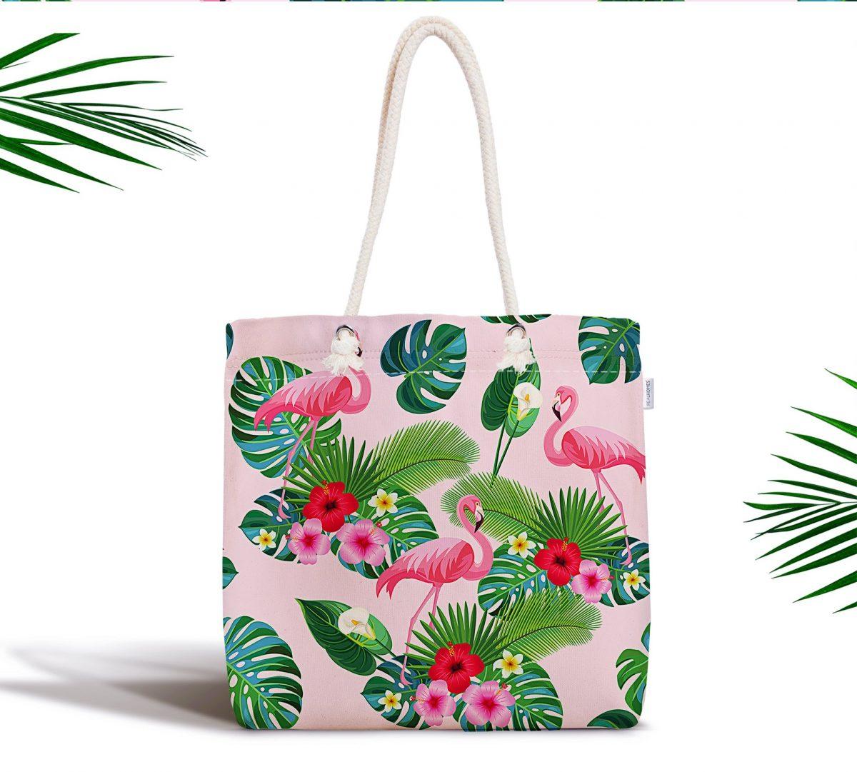 Flamingo Desen Dijital Baskılı Modern Fermuarlı Kumaş Çanta Realhomes