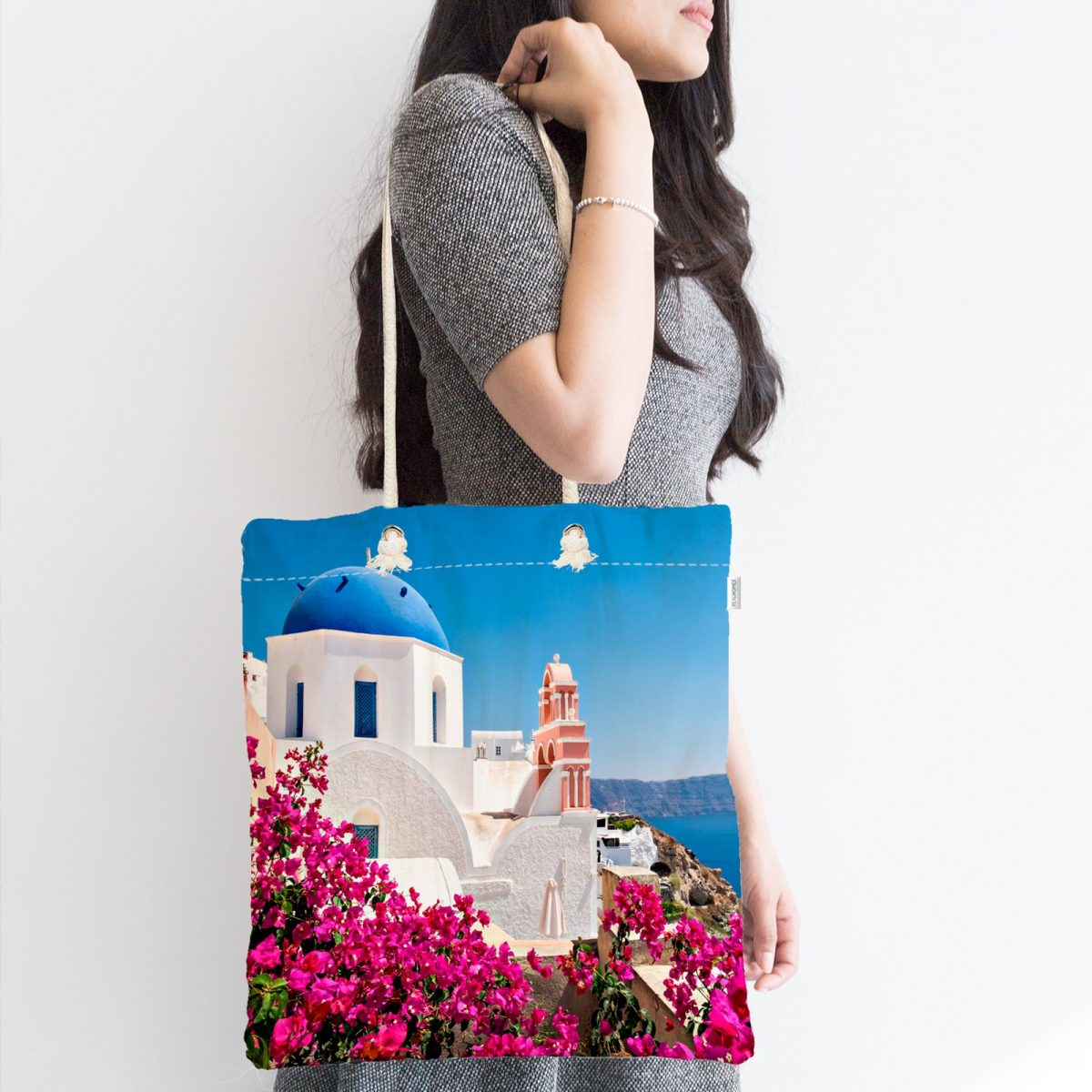 Manzara Desenli Dijital Baskılı Fermuarlı Modern Kumaş Çanta Realhomes