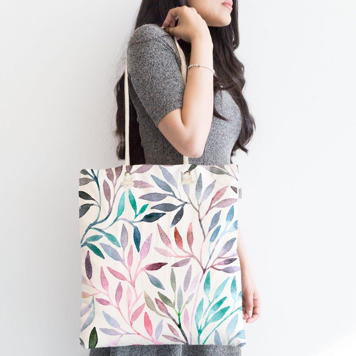 Renkli Yapraklar Dijital Baskılı Fermuarlı Modern Kumaş Çanta Realhomes
