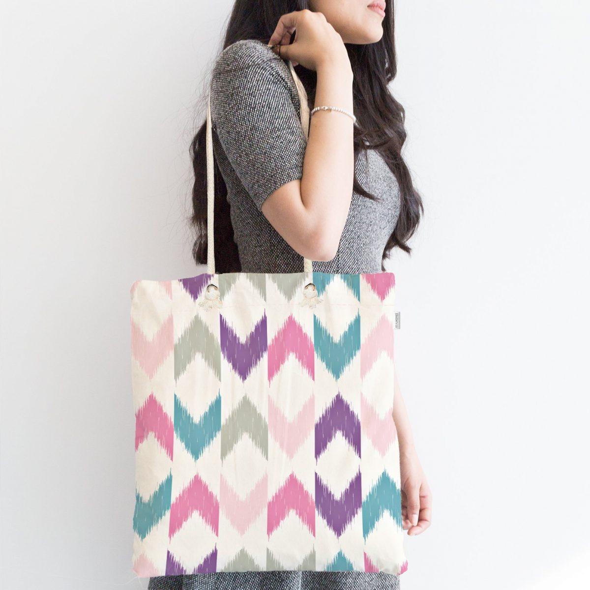 Renkli Zigzaglar Dijital Baskılı Fermuarlı Modern Kumaş Çanta Realhomes