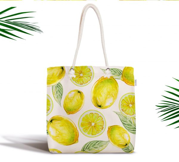 Limon Desenli Dijital Baskılı Fermuarlı Modern Kumaş Çanta Realhomes