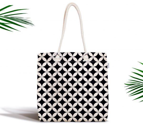 Siyah Beyaz Desenli Dijital Baskılı Fermuarlı Modern Kumaş Çanta Realhomes