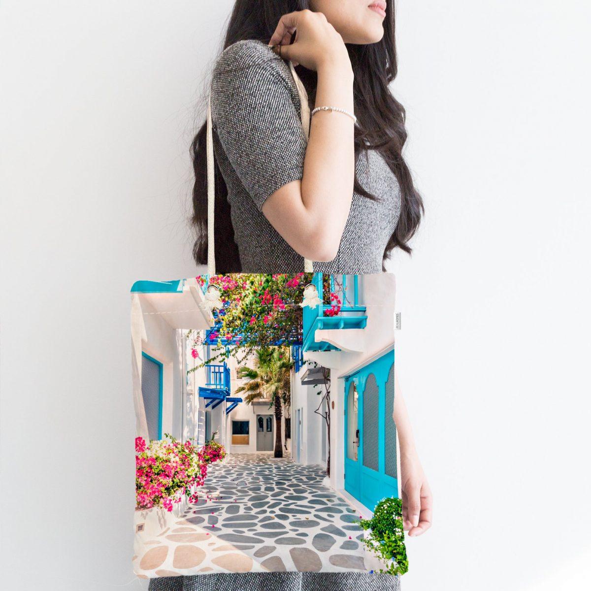 Çiçek Temalı Dijital Baskılı Fermuarlı Modern Kumaş Çanta Realhomes