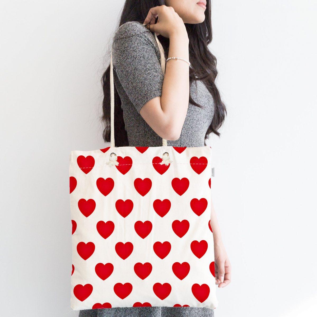 Kalp Desen Dijital Baskılı Fermuarlı Kumaş Çanta Realhomes