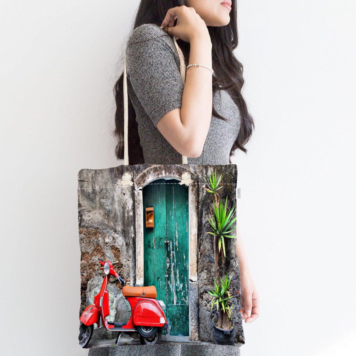 Otantik Kapı Desenli Dijital Baskılı Fermuarlı Kumaş Çanta Realhomes