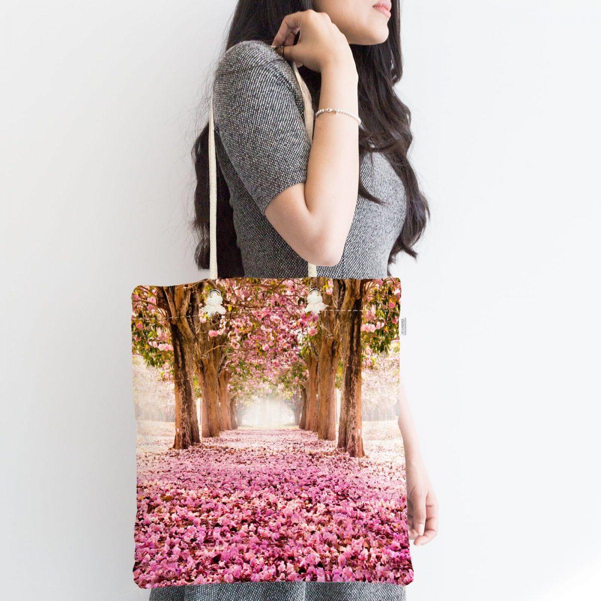 Çiçek Bahçesi Dijital Baskılı Fermuarlı Modern Kumaş Çanta Realhomes