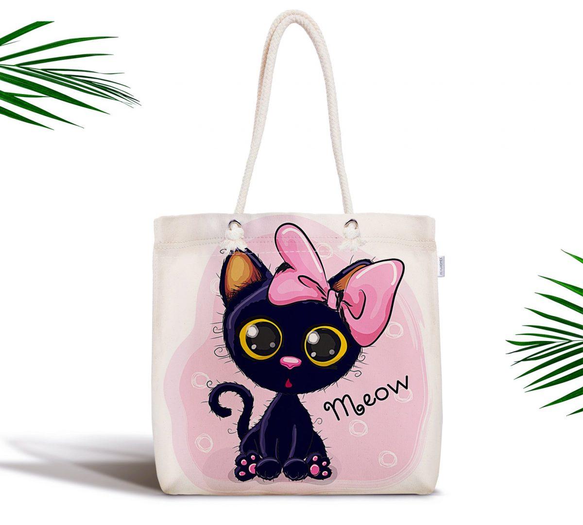 Sevimli Kedi Dijital Baskılı Fermuarlı Kumaş Çanta Realhomes