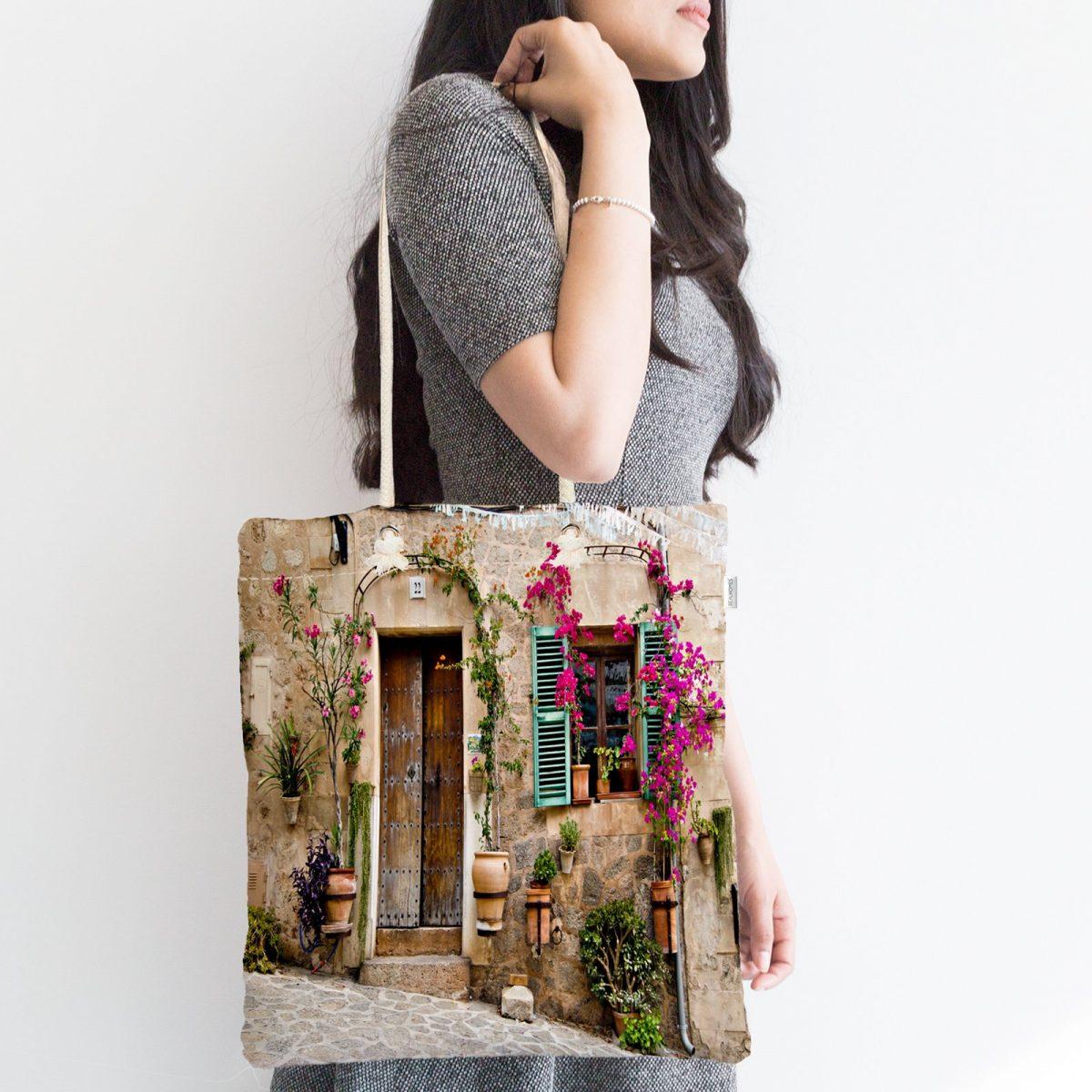 Çiçek Penceresi Desen Dijital Baskılı Fermuarlı Kumaş Çanta Realhomes