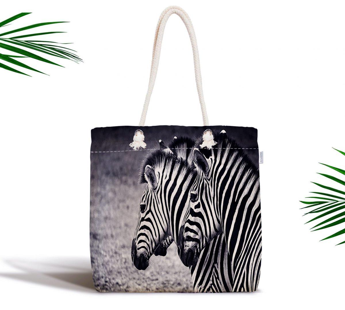 Modern Zebra Desen Dijital Baskılı Fermuarlı Kumaş Çanta Realhomes
