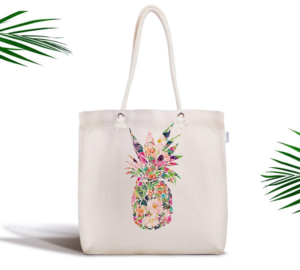 Modern Ananas Desen Dijital Baskılı Fermuarlı Kumaş Çanta Realhomes