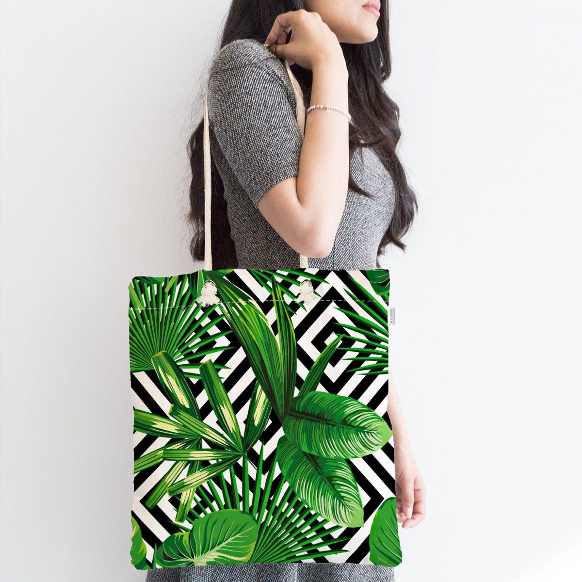 Geometrik Yeşil Yaprak Dijital Baskılı Fermuarlı Kumaş Çanta Realhomes