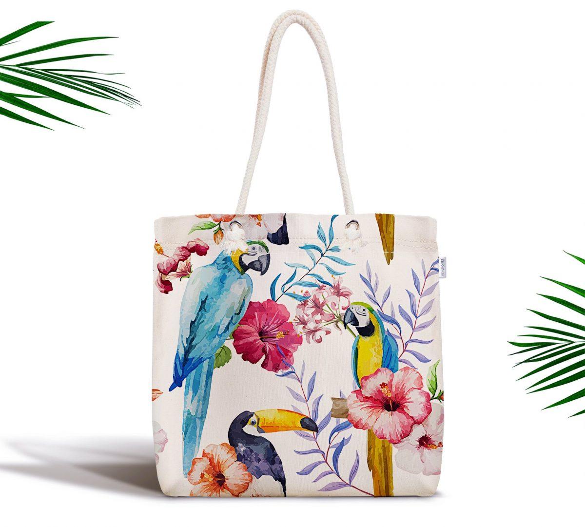 Papağan Desenli Dijital Baskılı Fermuarlı Kumaş Çanta Realhomes