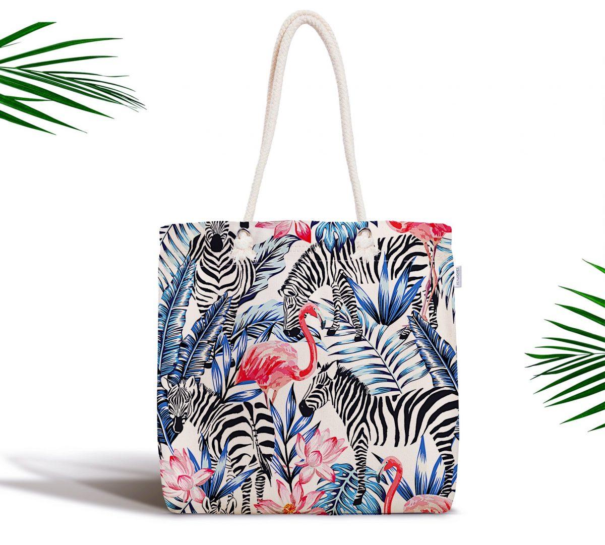 Flamingo Temalı Dijital Baskılı Fermuarlı Kumaş Çanta Realhomes