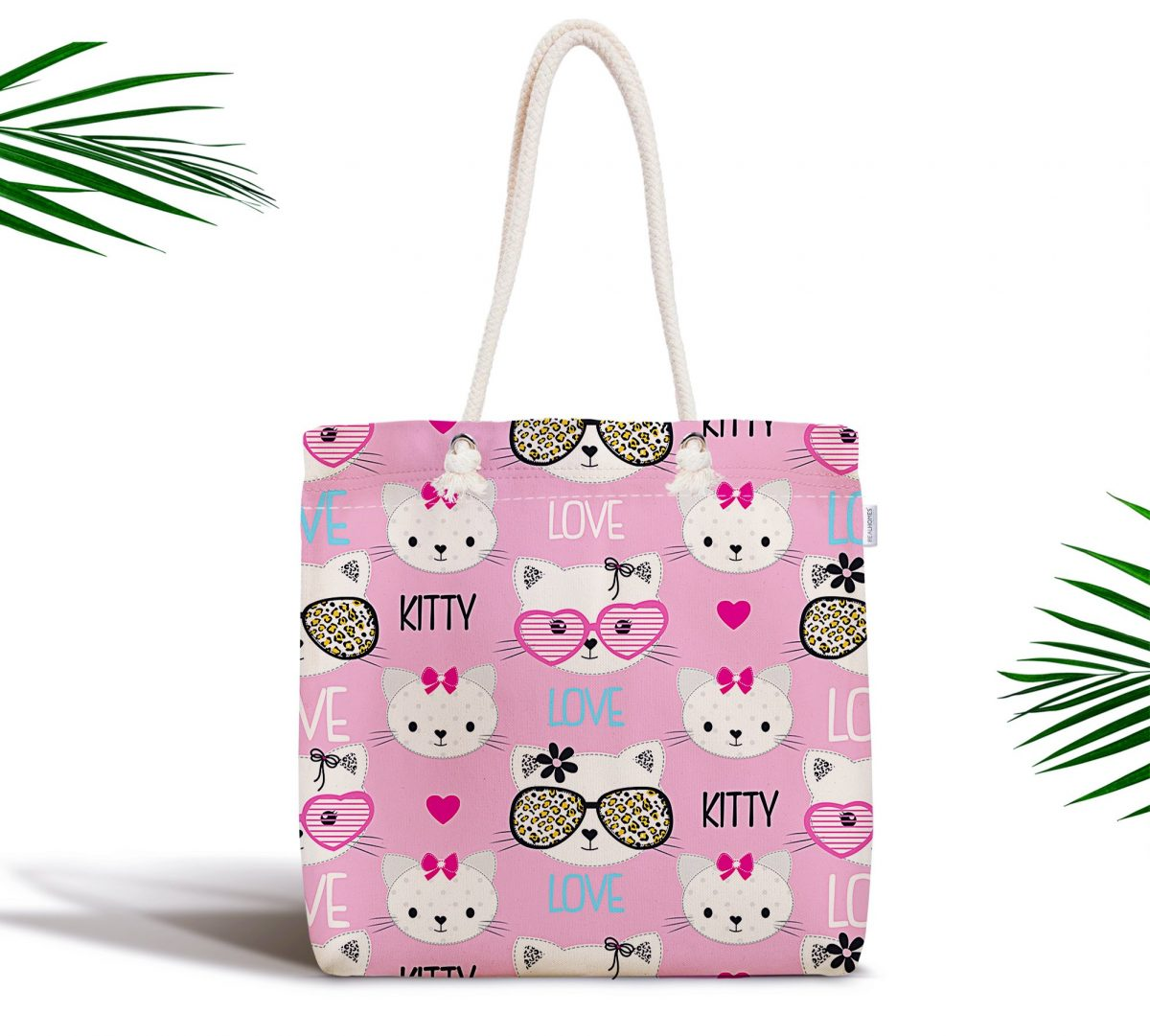 Kitty Love Desenli Dijital Baskılı Fermuarlı Kumaş Çanta Realhomes