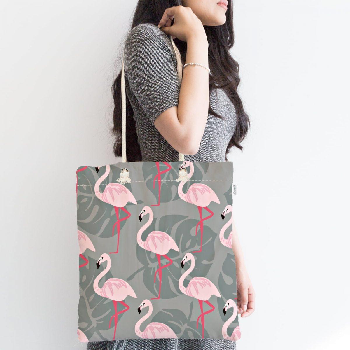 Flamingo Desenli Dijital Baskılı Fermuarlı Kumaş Çanta Realhomes