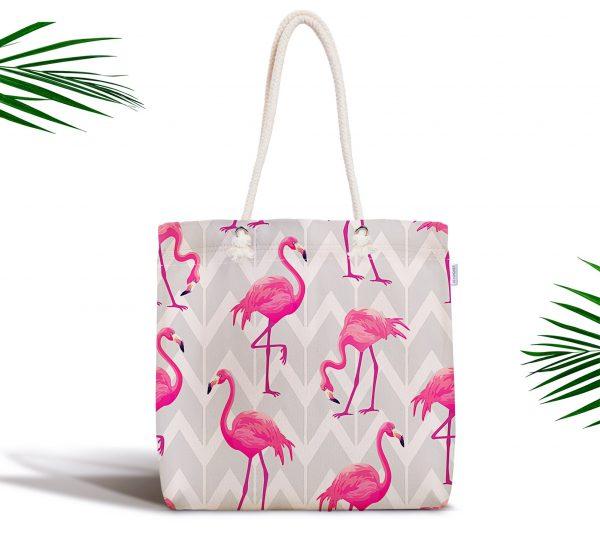 Gri Zeminde Flamingo Desenli Dijital Baskılı Fermuarlı Kumaş Çanta Realhomes