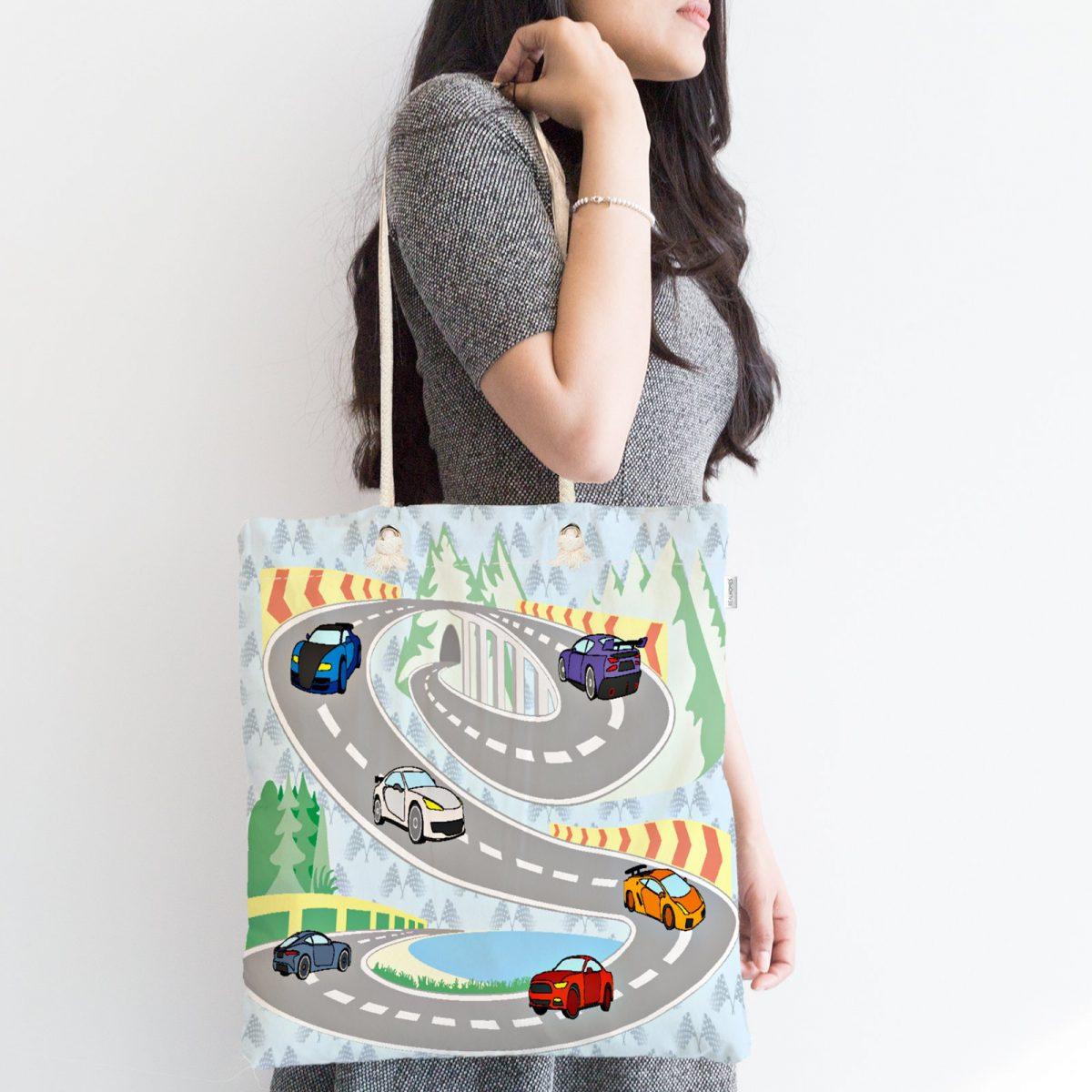 Araba ve Yol Desenli Dijital Baskılı Fermuarlı Kumaş Çanta Realhomes
