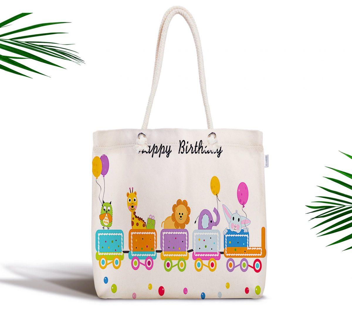 Happy Birthday Dijital Baskılı Fermuarlı Kumaş Çanta Realhomes