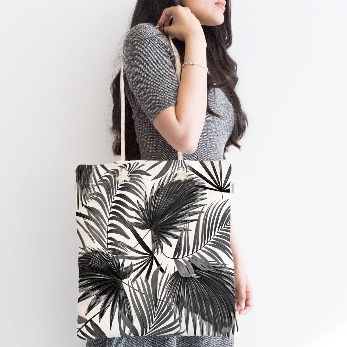 Siyah Beyaz Yapraklar Dijital Baskılı Fermuarlı Modern Kumaş Çanta Realhomes