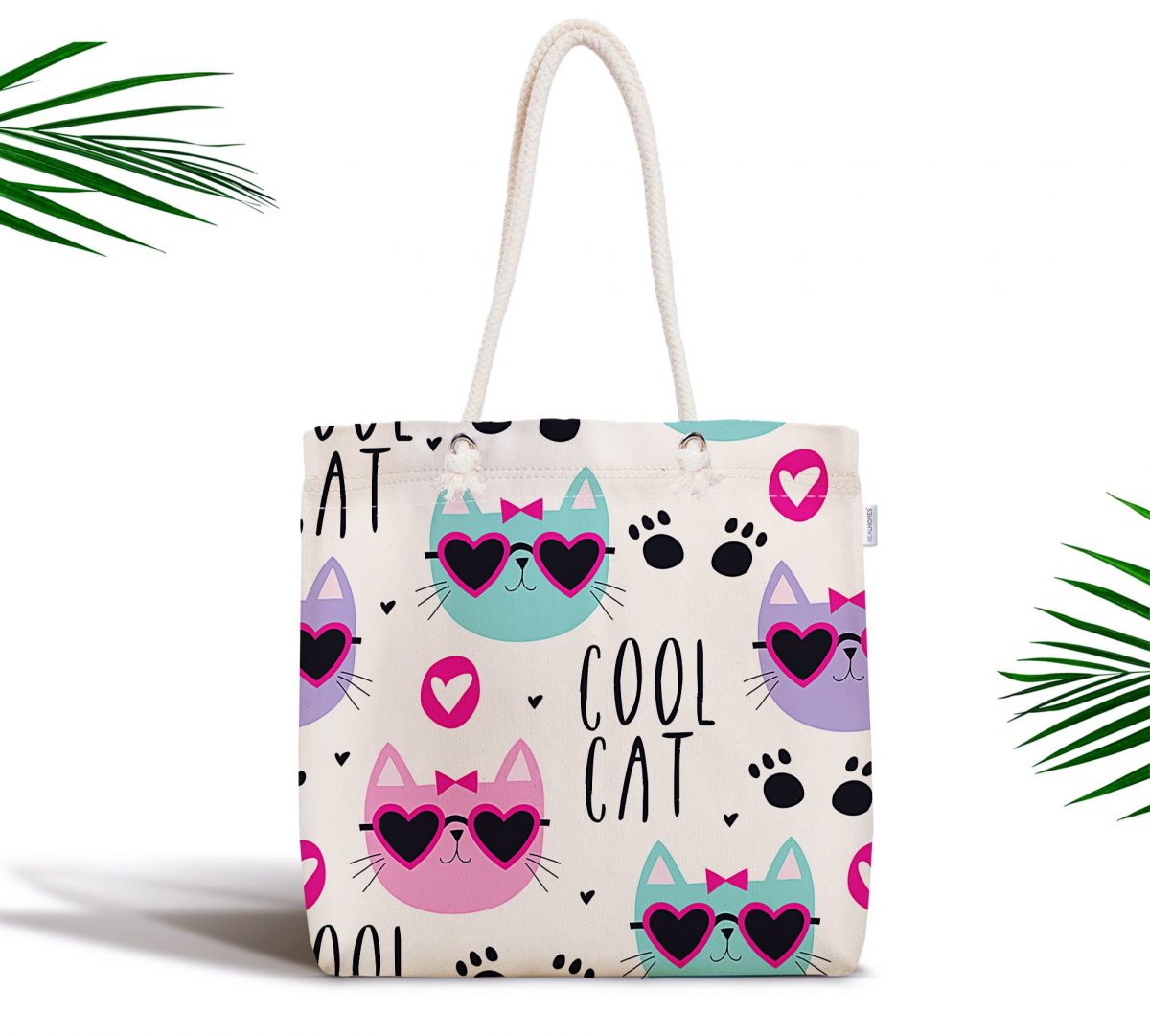 Cool Cat Dijital Baskılı Fermuarlı Modern Kumaş Çanta Realhomes