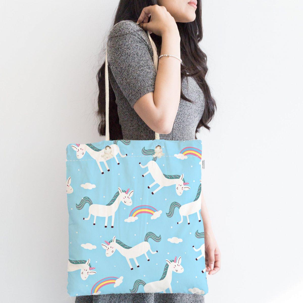 Mavi Zeminde Unicorn Desenli Dijital Baskılı Fermuarlı Modern Kumaş Çanta Realhomes