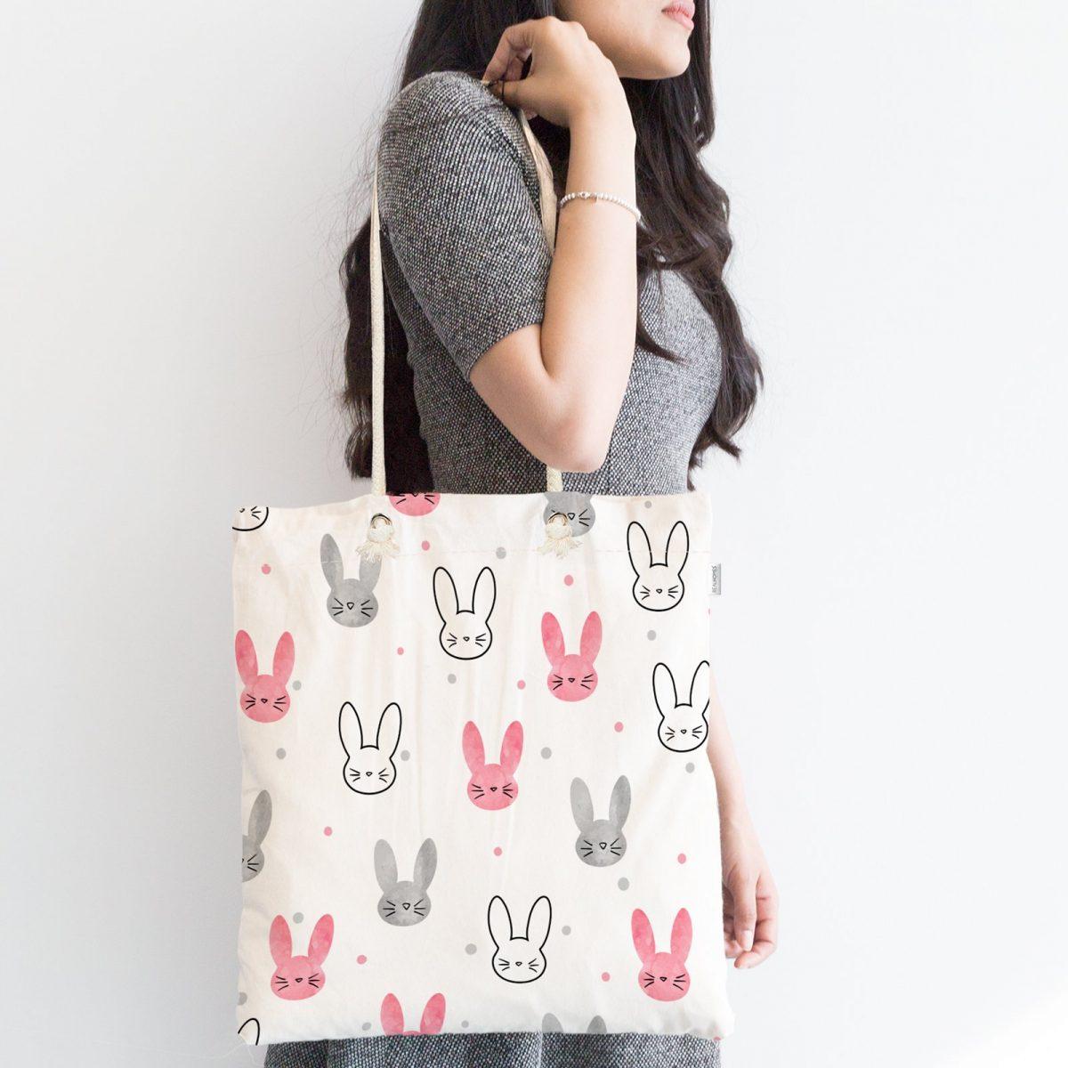 Renkli Sevimli Tavşanlar Dijital Baskılı Fermuarlı Modern Kumaş Çanta Realhomes