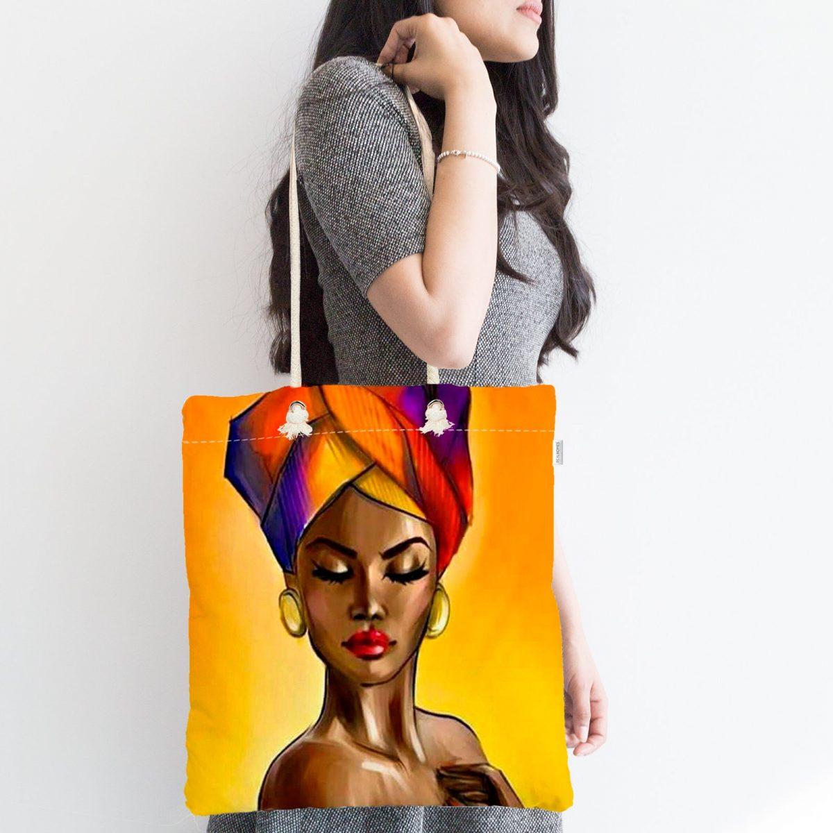 Afrika Kadın Tasarımlı Dijital Baskılı Özel Tasarım Fermuarlı Kumaş Çanta Realhomes