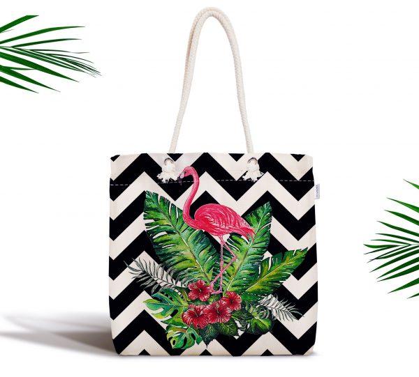 Geometrik Zeminde Flamingo Desenli Dijital Baskılı Fermuarlı Kumaş Çanta Realhomes