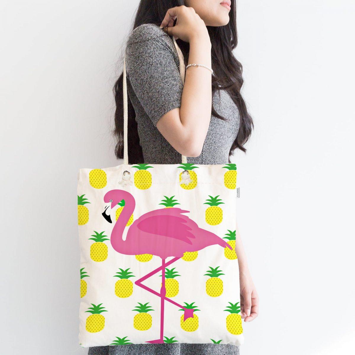 Pembe Palmiye Desenli Dijital Baskılı Fermuarlı Kumaş Çanta Realhomes