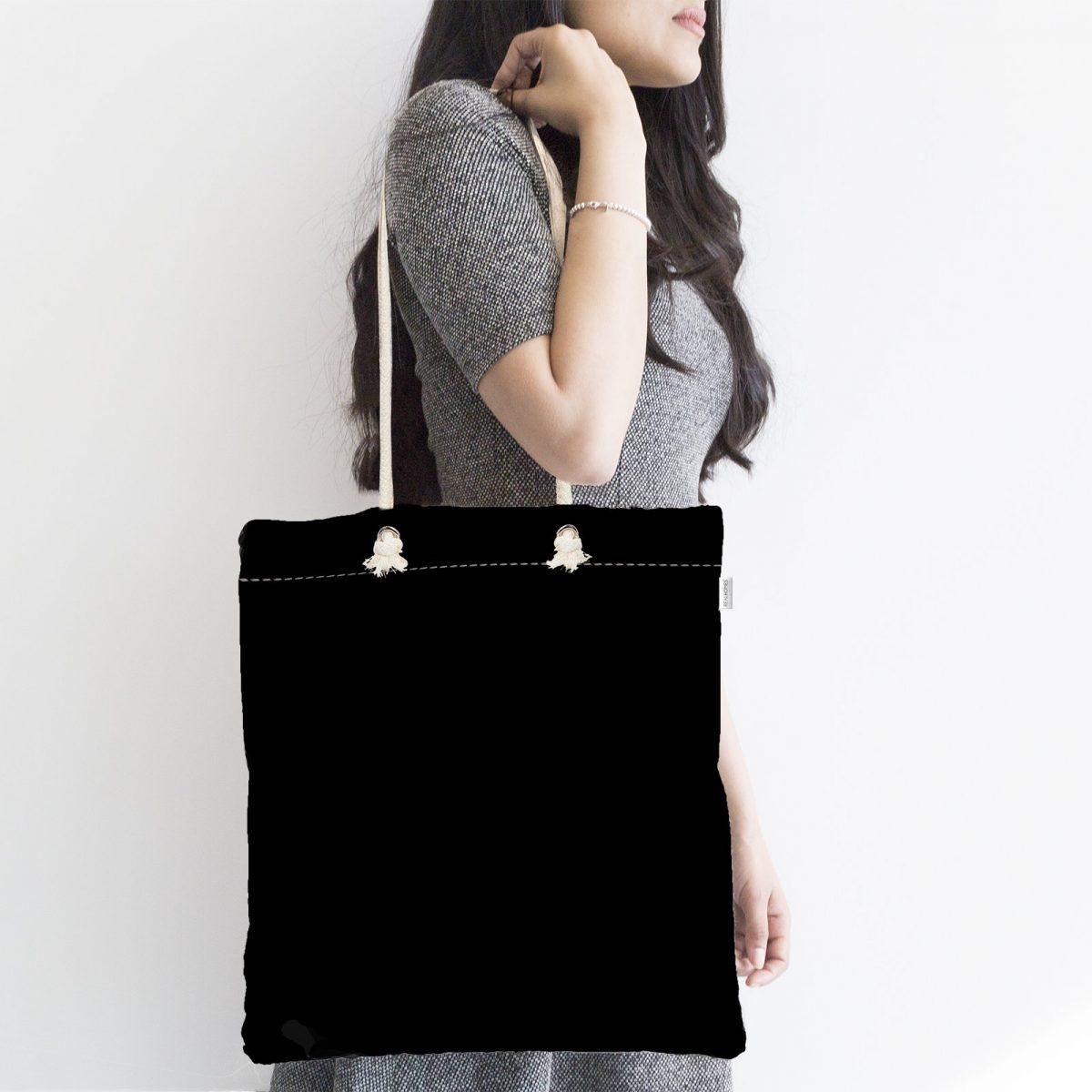 Siyah Renkli Dijital Baskılı Fermuarlı Kumaş Çanta Realhomes