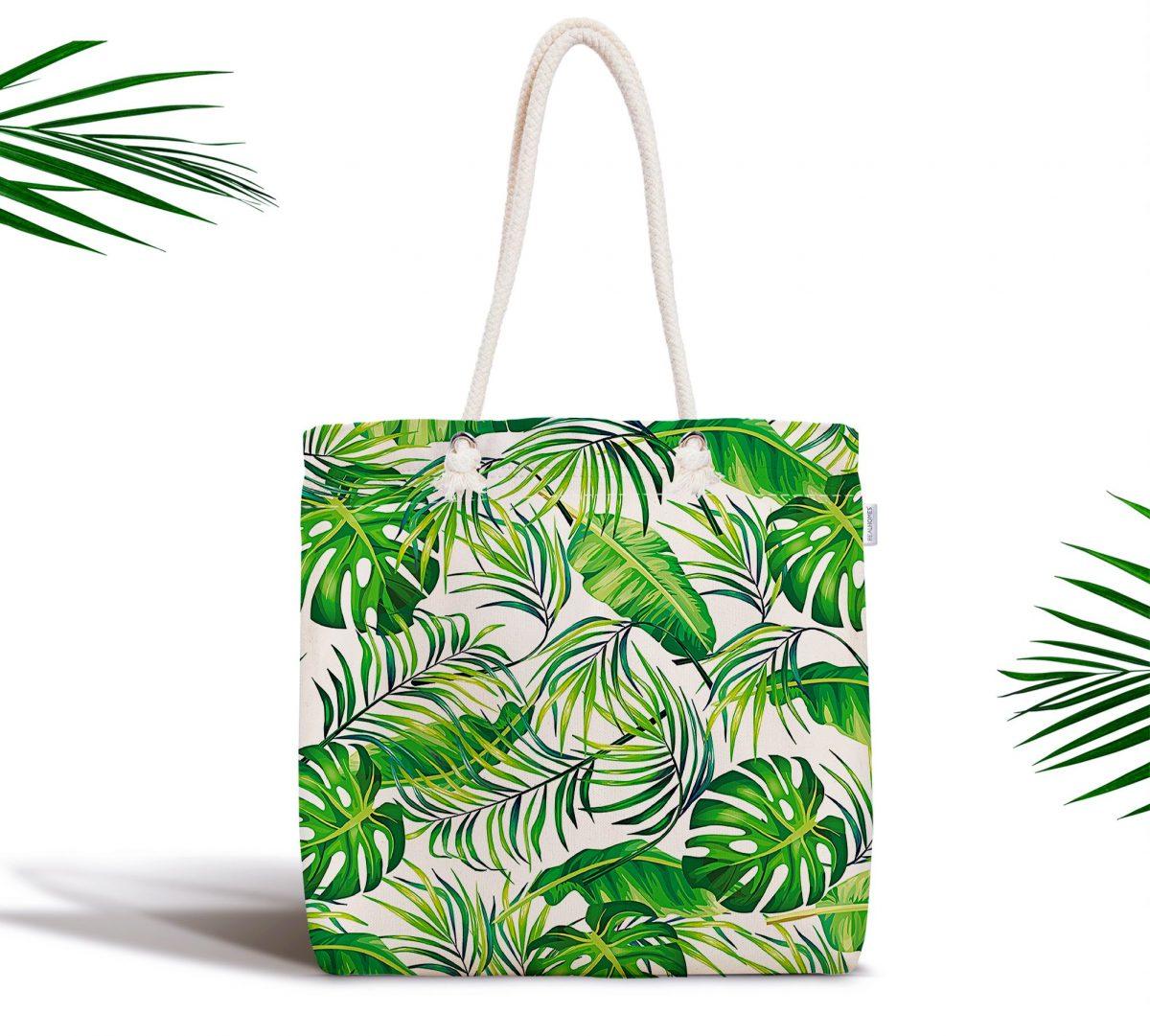 Yeşil Yapraklar Özel Tasarım Dijital Baskılı Fermuarlı Kumaş Çanta Realhomes